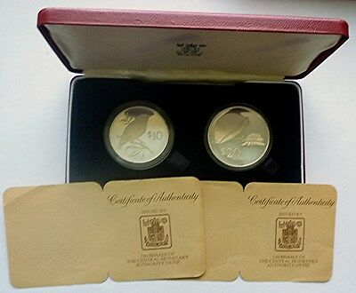 1978 Fiji - Official Conservation Proof Silver Set - Parrotfinch & Cowrie Snail