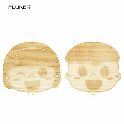 Fluker Cute Wooden Tooth Box Organizer For baby Save Milk Teeth... Free Shipping