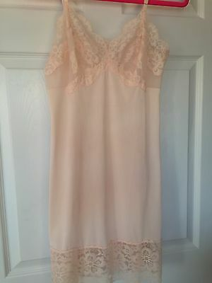 Vintage Peach Chiffon Lace Nylon Embroidered Full Slip Dress Sheer Cups