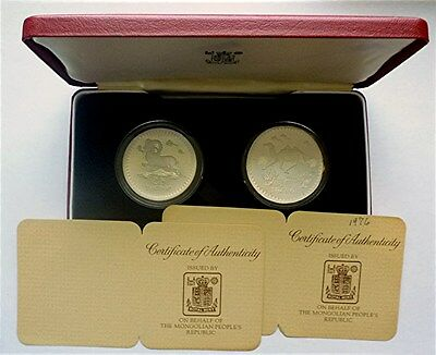 1976 Mongolia - Official Conservation Proof Silver Set - Argali Sheep & Camel