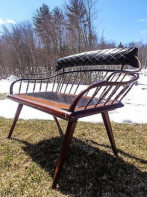 Horse-Drawn Carriage 19Th C. Buck Board 2-Person Bench, Wood Dowels, Iron Piping