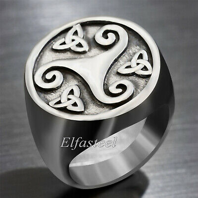 Men's Celtic Trinity Knot Triquetra Triskele Silver Stainless Steel Signet Ring