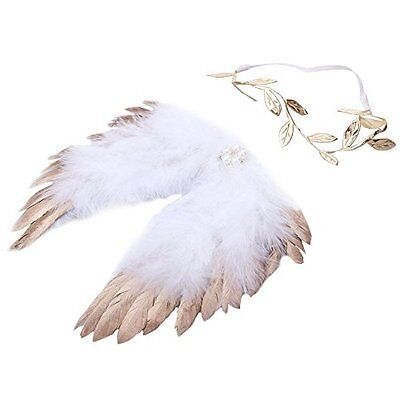 Baby Girl Boy Newborn Angel Feather Wings Hair Band Photography Props - Gold