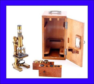 Antique E. Leitz Wetzlar Microscope. Original Case. Germany, 1889