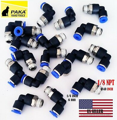 """5 x Pneumatic Male Elbow Connector Tube OD 1/4"""" (6mm) X NPT 1/8 PU Air Push In"""