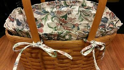 1996 Longaberger Magazine Basket with 2 Swing Handles and Cloth Liner