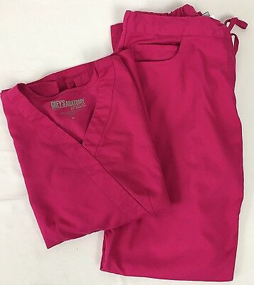 Grey's Anatomy Scrub Set Medium Top Pants Bright Pink