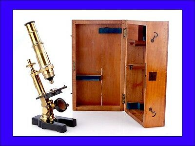 Antique  Brass Compound Microscope. Working Order. Made Circa 1880