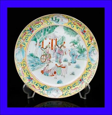 Antique Chinese Porcelain Plate. Qing Dynasty. China, 19th Century