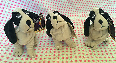 Lot of 3 Applause Hush Puppies Plush With Magnet Ears Bassett Hound Puppy