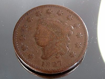 1827 Large Cent Penny Coronet Head
