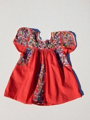 VINTAGE~70's MEXICAN Top~RED Cotton Embroidered OAXACAN Peasant HIPPIE Blouse