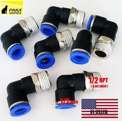 """10x Pneumatic Male Elbow Connector Tube OD 1/2""""(12mm) X  NPT 1/2 PU Air Push In"""