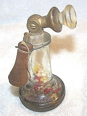 Antique Victory Glass Co. Candlestick Telephone Candy Container- Complete-Candy