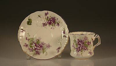 Hammersley Quatrefoil Victorian Violets Cup and Saucer  England