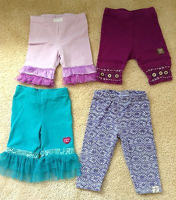 Lot Of 4 Baby Naartjie Girls Leggings - Size 6-12 Months - Adorable!