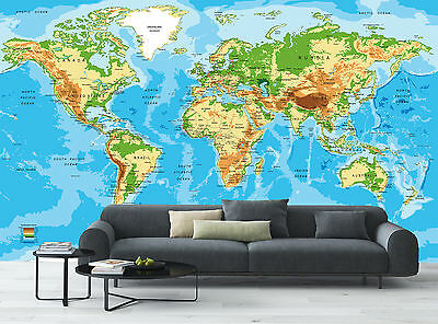 World Map View Art Wall Mural Photo Wallpaper Image Decor Giant Paper Poster