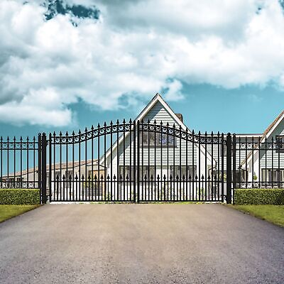 ALEKO Prague Style Ornamental Iron Wrought Dual Driveway Gate 16' High Quality