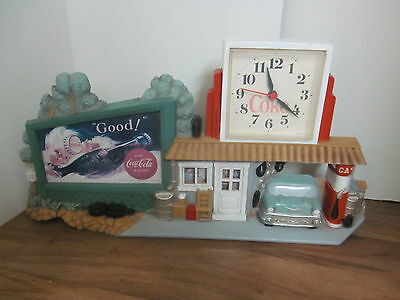 Vintage Coca Cola Wall Clock Route 66 - 1950's Style Gas Station 57 Chevy