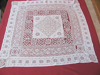 "Antique White Mixed Lace Tea Tablecloth 35"" by 36"""
