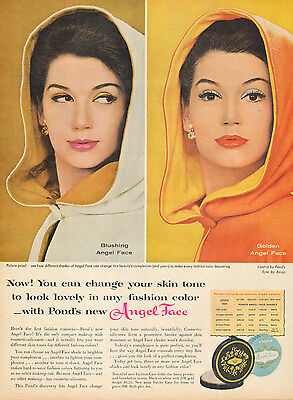 1960 vintage Cosmetics AD ANGEL FACE compact makeup from PONDS 12217