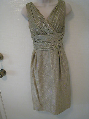 Vintage Mid Century Gold Green Metallic Cocktail Party Dress Sleeveless Size S