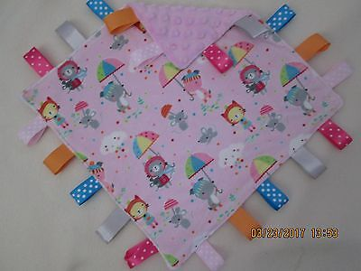 New Double  Minky Rainy Day Playtime/ Pink  Taggie, Security Blanket Baby Girl