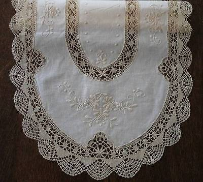 """Vintage Ecru Table Runner Bobbin Lace Hand Embroidered Flowers 42"""""""