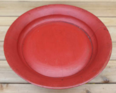 Antique Chinese Red Lacquer Serving Platter Dish Curved Bentwood Compote Bowl