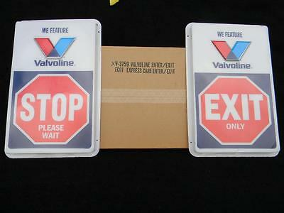"NOS Pair of Valvoline Stop & Exit Signs New Never Used in Original Box 28"" X 17"""