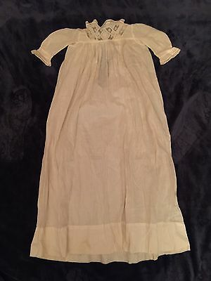 Antique Baby Christening Gown Long with Lace Cotton