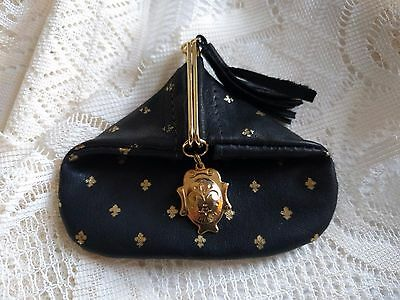 Vintage Firenze Italy Leather Coin Pouch Black & Gold