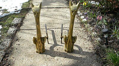 Vintage Mid Century Modern Solid Brass Cat Fireplace Andirons 1950,s