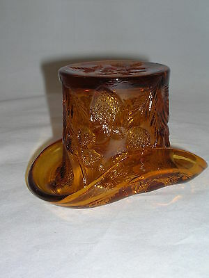 Eapg Near Cut Inverted Strawberry - Hat Toothpick - Amber - Cambridge Ca 1912