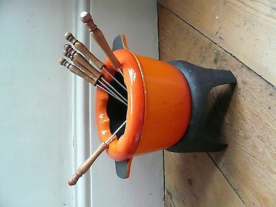 Cast Iron Fondue Set Orange