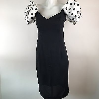 Vtg 80s Black Prom Dress Polka Dot Poofy Puffy Sleeve Mini Party Size 12