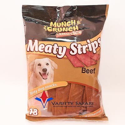 Dog Treats / Chews / Meaty Beef Flavour Strips - Pack Of 18 - By Munch & Crunch
