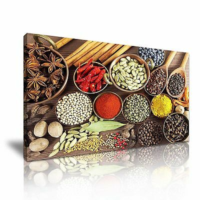Indian Spice Herb Pepper Canvas Framed Print Restaurant Deco Wall Art Pictures