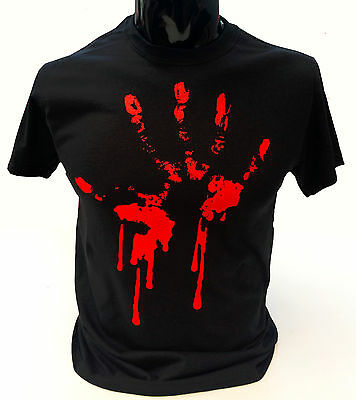 Bloody Hand Print T-Shirt Mens S-2XL Goth Rock Blood Zombie Punk Halloween