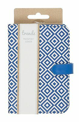 Trendz Fashionable PU Leather Passport Cover / Holder - Geometric - Blue