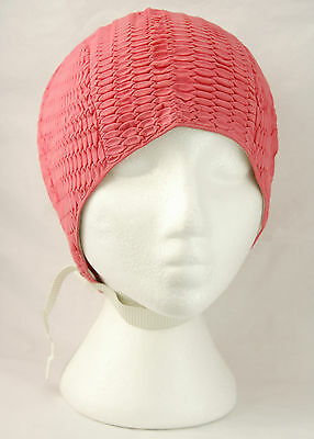 Vtg Quilted Rubber Bathing Swimming Cap Pink w Chin Strap One Size Textured