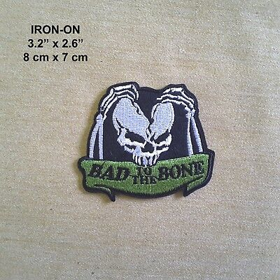 BAD To The BONE Skull Crossbone Zombie Embroidered Iron On Patch Biker Skeleton