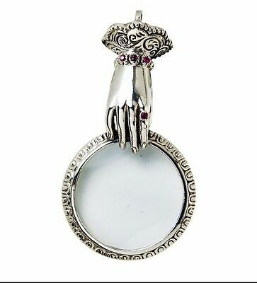 Victorian Style Ruby Hand Magnifying Glass Pendant 925 Sterling Silver Hallmarkd
