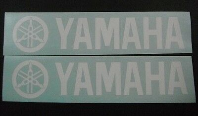 White Yamaha pair vinyl cut sticker / decals. for outboards, bikes 370mm X 80mm