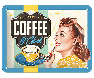 A5 Retro Embossed Tin Metal Sign COFFEE O'CLOCK 1950's Coffee Advert 15x20cm