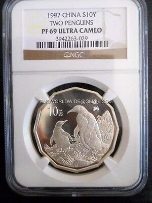1997 China Two Penguins Silver 2/3 oz NGC Proof 69 Ultra Cameo PF PR