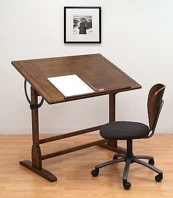 Ponderosa Drafting Table Adjustable Angle 42in Antique Design Drawing Desk Oak