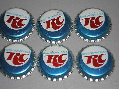 6 1960s UNUSED PLASTIC LINED RC ROYAL CROWN COLA SODA BOTTLE CAPS TORONTO CANADA