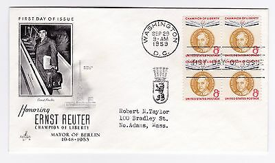 US Scott 1137 Ernst Reuter block of 4 Cachet First Day Cover