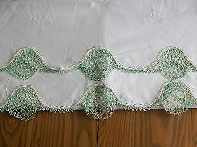 2 Vintage Pillowcases ~ Beautiful Hand Tatted Lace Border ~ Pillow Case Tubing